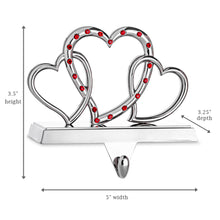 Load image into Gallery viewer, Triple Heart Stocking Holder - Non-tarnish Metal with Red Acrylic Crystals - Christmas Hanger