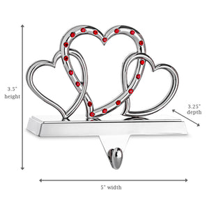 Triple Heart Stocking Holder - Non-tarnish Metal with Red Acrylic Crystals - Christmas Hanger