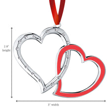 Load image into Gallery viewer, Double Heart Ornament - Interlocking Studded Crystal And Red Enamel Heart - Couple Wedding Ornament