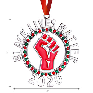 Black Lives Matter Ornament for Christmas Tree - Raised Fist Resistance Ornament with Colored Stones - BLM