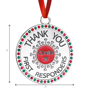 Thank You Covid 19 First Responders Christmas Ornament - Healthcare Workers Appreciation Gift for Christmas Tree - Quality Non-tarnish Metal