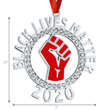 Load image into Gallery viewer, Black Lives Matter Ornament for Christmas Tree - Raised Fist Resistance Ornament with Clear Stones - BLM - Hanging Car Mirror Ornament