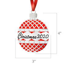 Load image into Gallery viewer, 2020 Christmas FLAT Red Enamel Holiday Ornament Ball Decoration -  Flat Holly Bell Design -With Red Tie Hanging Ribbon - Engraved Christmas 2020