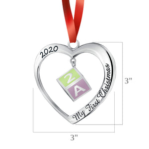 2020 Baby's First Christmas Heart Ornament - Silver and Enamel Heart With 3D Hanging Baby Block Ornament - Non-tarnish Metal