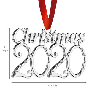 Klikel 2020 Christmas Year Ornament - Holiday Tree Decoration with Red Tie Ribbon - 2nd Annual Christmas Edition