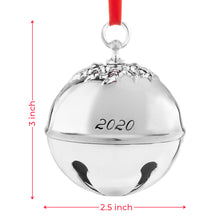 Load image into Gallery viewer, 2020 Christmas Holiday Sleigh Holly Bell Ornament Decoration - With Red Tie Hanging Ribbon - Engraved Christmas 2020 - 6th Annual Edition