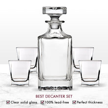 Load image into Gallery viewer, Trinkware Norwalk Whiskey Glass Set - 5 Piece Home Bar - Includes Decanter And 4 Dof Rock Tumblers - 24oz Wine Decanter Capacity, 10 oz. Glass Capacity