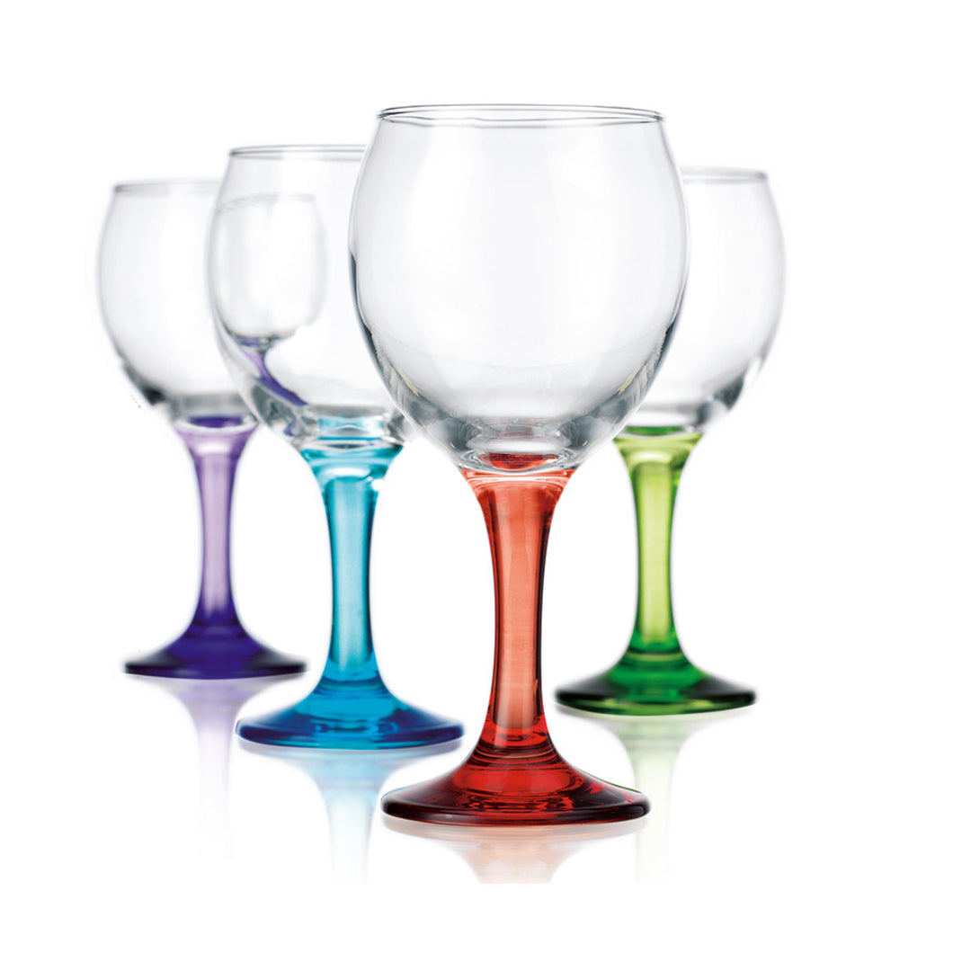 Colored Stem Wine Glasses Set of 8 - 2 of Purple Blue Red Green - Crystal Clear Bowl with Rainbow Stem -10oz