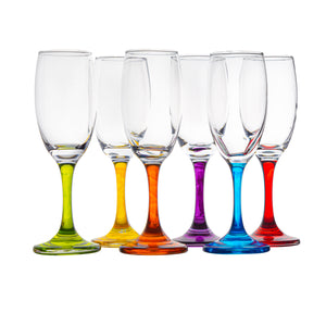 Champagne Flutes With Colored Stem Set Of 6 - Party Toasting Glass - 6oz