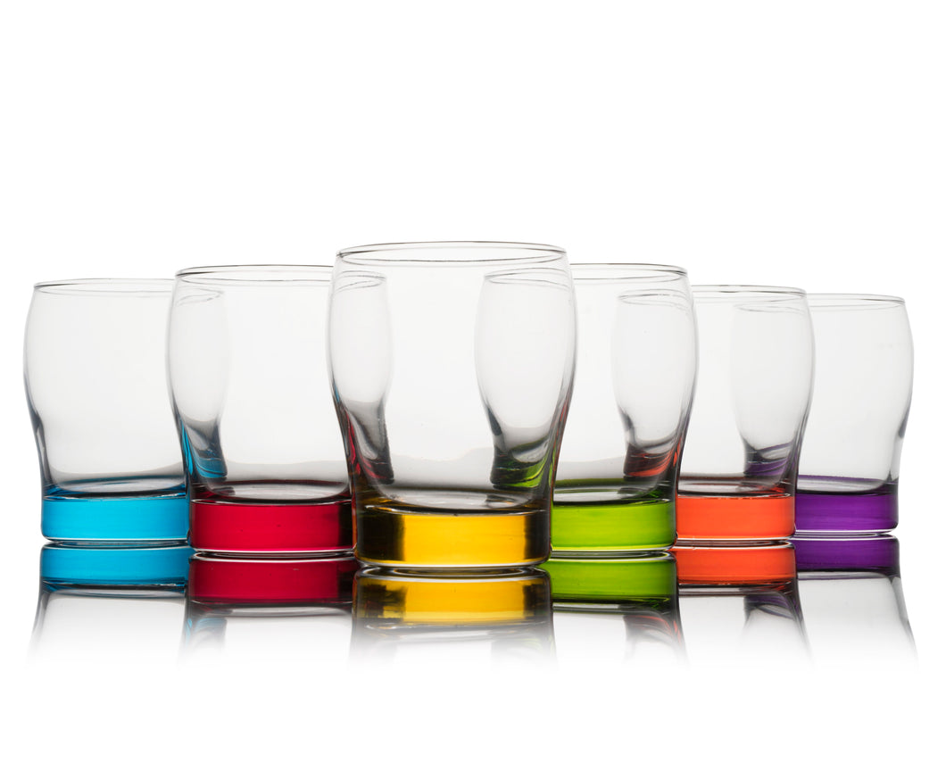 Colored Whiskey Glasses Set of 6 - Blue, Red, Yellow, Green, Orange, Purple DOF Glassware -11oz