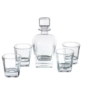 Meriden Whiskey Decanter And Glass Set - Barware Includes One Decanter And Four Glasses - Square Design Coordinates Wine Decanter With Double Old Fashioned Glass - Made From Lead Free Glass