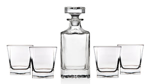 Trinkware Norwalk Whiskey Glass Set - 5 Piece Home Bar - Includes Decanter And 4 Dof Rock Tumblers - 24oz Wine Decanter Capacity, 10 oz. Glass Capacity