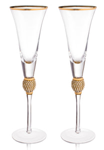 "Wedding Champagne Flutes - Rhinestone ""Diamond"" Studded Toasting Glasses with Gold Rim - Long Stem, 7oz, 11-Inches Tall – Elegant Glassware and Stemware - Set of 2 For Bride and Groom"