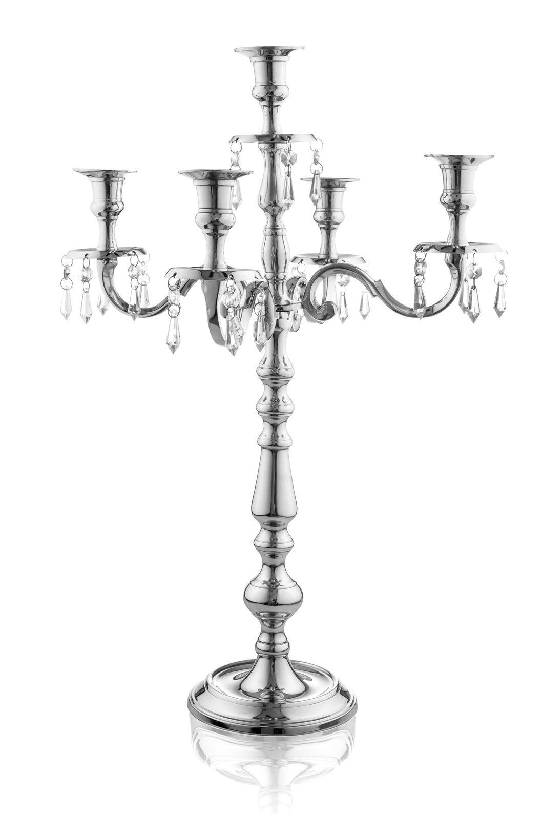 Traditional 24 Inch Silver Candelabras 5 Candle with Crystal Drops - Classic Elegant Design - Wedding, Dinner Party and Formal Event Centerpiece - Nickel Plated Aluminum, Dangling Acrylic Crystals