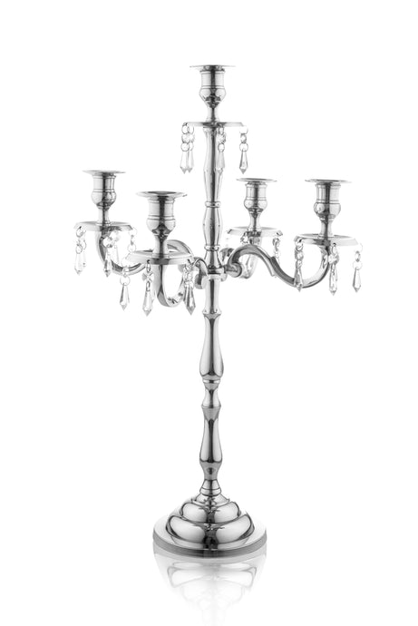 Candelabra Centerpiece - Heritage 24 Inch 5 Candle Candelabra Silver with Crystal Drops - Classic Elegant Design - Wedding, Dinner Party and Formal Event Centerpiece - Nickel Plated Aluminum, Dangling Acrylic Crystals