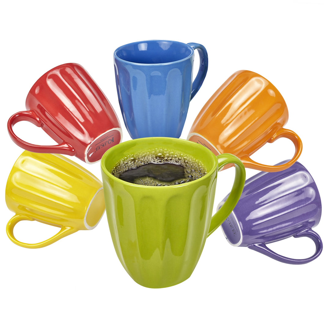 Klikel Coffee Mugs Set of 6 - Fluted Ceramic Mug - Hot Tea and Coffee Cup - Solid Bright Colors - Dishwasher and Microwave Safe Dinnerware