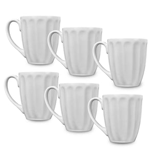 Klikel 6 White Fluted Mugs - 14 oz Solid Flat Bottom Porcelain Dinnerware - Ceramic Mug Set - Coffee Tea Hot Cups - Lead Free