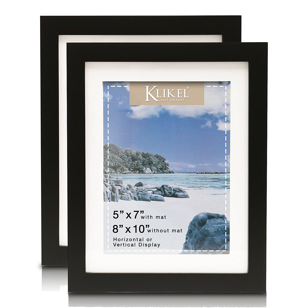 Klikel 5x7 Picture Frame - Black Wooden Matted Wall Frame - 8x10 Frame Without Mat - Set of 2 Wall Hanging and Table Standing Picture Frames