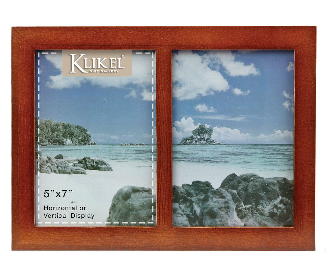 2 Photo Collage Solid Walnut Brown Wood Picture Frame - 2 Opening 5 x 7 Picture Slots