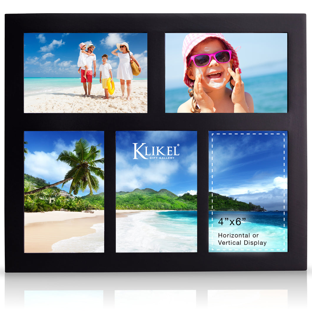 Photo Collage Frame - Black Wooden Wall Frame - 5 Openings – 4x6 Pictures - Decorative Family Picture Frame