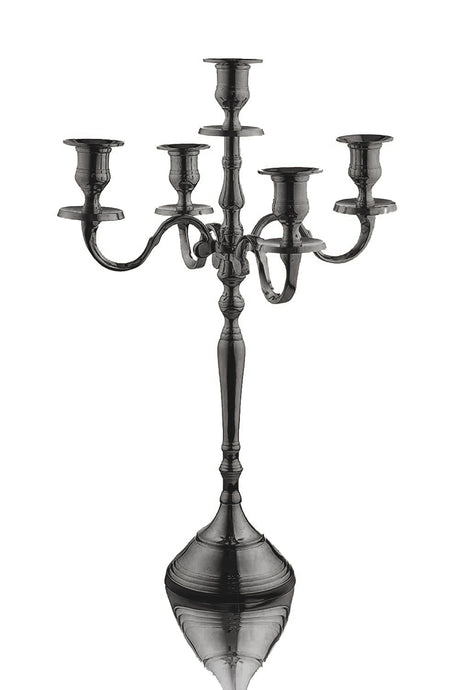 Klikel 18 Inch Black 5 Candle Candelabra - Modern Elegant Design - Wedding, Dinner Party and Formal Event Centerpiece - Black Plated Aluminum, Classic Finish