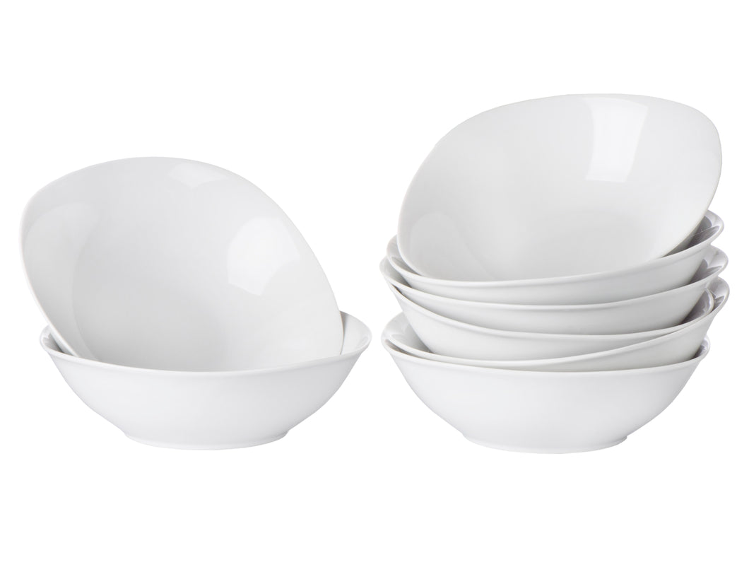 Klikel 8 Pack 18oz Porcelain Soup Bowls - White Square Soup and Cereal Dinnerware Bowl Set - 6.5-Inch (18oz)