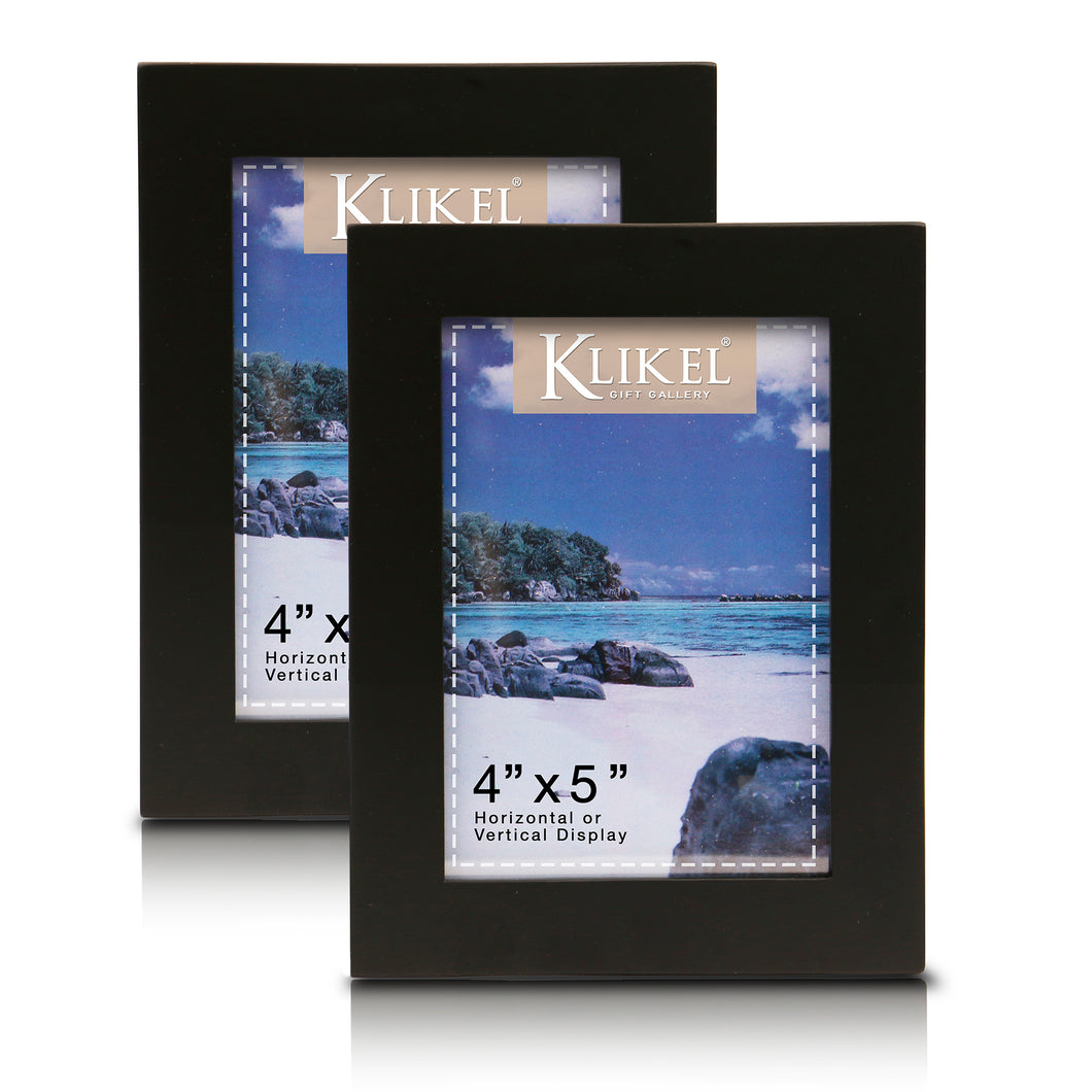 Black Picture Frame - Set of 2 4 x 5 Black Wooden Photo Frame - Made of Real Wood with Glass Photo Protection - Wall Hanging and Table Standing Display