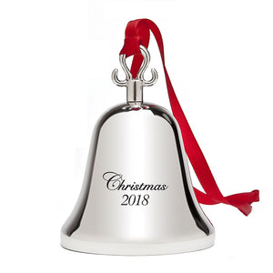 2018 Christmas Bell - Holiday Tree Ornament Decoration - With Red Tie Hanging Ribbon - Engraved Christmas 2018 - 5th Annual Edition
