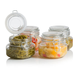 Square Glass Kitchen Storage Canister Jars - Crystal Clear Food Storage Jars With Clear Lid and Bail & Trigger Hermetic Seal - 16oz, (Set of 4)