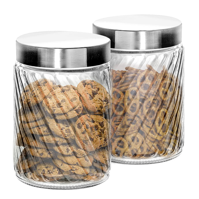 Klikel Glass Canister Set for the Kitchen - Set of 2 Containers With Lids - Tight Seal for Flour Sugar Pasta Cereal - Cookie Jar - Capacity 68oz / 2000ML 4 1/4 Diam x 11.5 Inch High