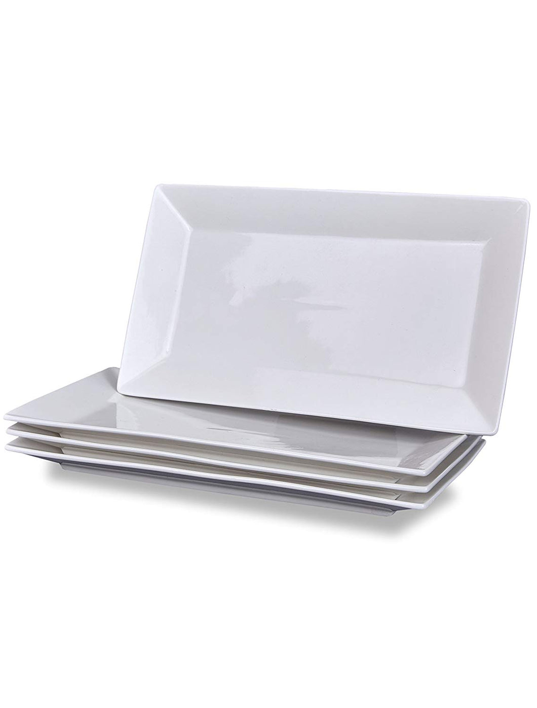 Klikel 4 Serving Platters - Classic White Plate - Serving Trays for Parties - Microwave and Dishwasher Safe - 6.5 x 14 Inch