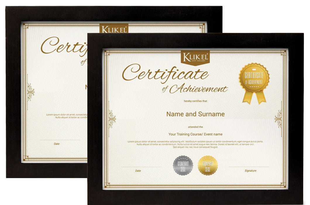 Klikel Certificate Frame Set of 2 - 8.5 x 11 Inch Solid Wood Black Frame - Diploma Document Certificate Photo Frame - Wall Hanging Mount and Table Stand - Frame For Home and Office