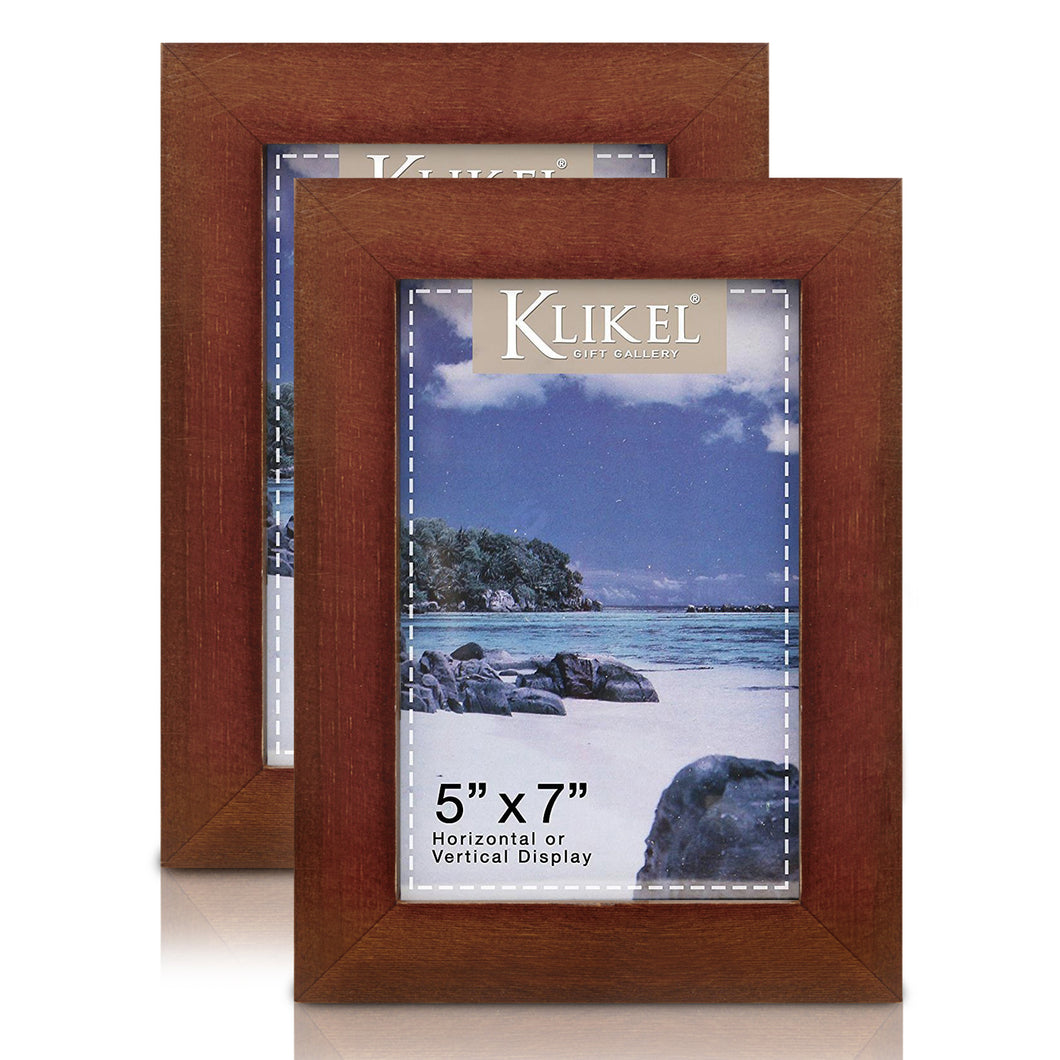 Walnut Picture Frame - Set of 2 5 x 7 Brown Wooden Photo Frame - Made of Real Wood with Glass Photo Protector - Wall Hanging and Table Standing Display