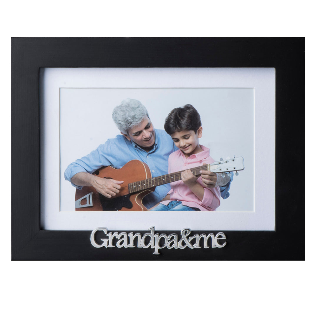 Grandpa and Me Picture Frame - Black Wood Frame with Silver Sentiments - Holds 1 4x6 Photo with Mat or 1 5x7 Photo Without Mat - Wall Mount and Table Desk Display