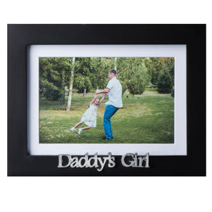 Daddy's Girl Picture Frame - Black Wood Frame with Father Sentiments - Holds 1 4x6 Photo with Mat or 1 5x7 Photo Without Mat - Wall Mount and Table Desk Display