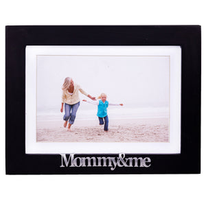 Mommy and Me Frame - Black Wood Frame with Silver Mom Sentiments - Holds 1 4x6 Photo with Mat or 1 5x7 Photo Without Mat - Wall Mount and Table Desk Display