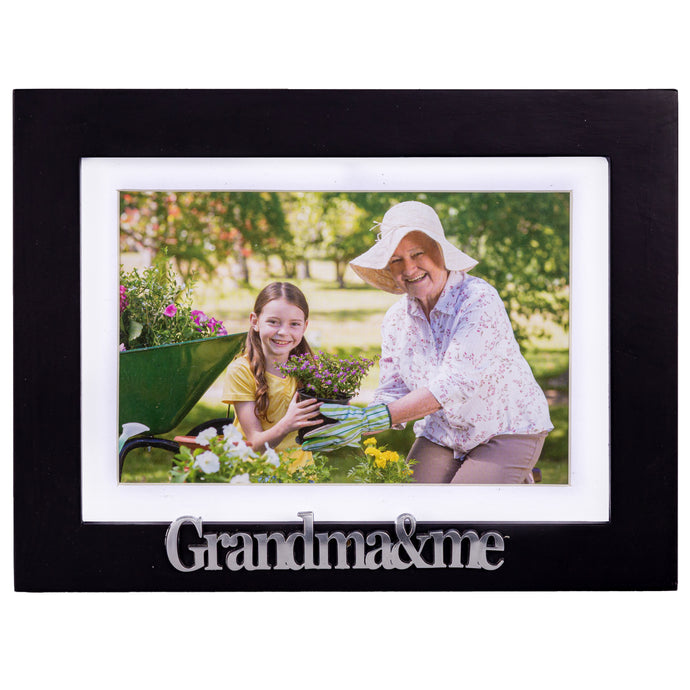 Grandma and Me Picture Frame - Black Wood Frame with Silver Mom Sentiments - Holds 1 4x6 Photo with Mat or 1 5x7 Photo Without Mat - Wall Mount and Table Desk Display