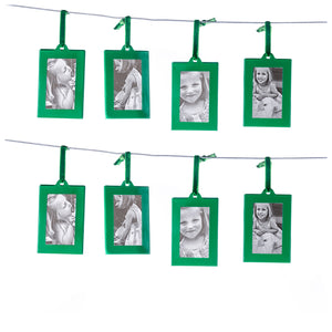 Green Mini Picture Frames - Set of 8 - Wallet Size Picture Frame Ornaments for Gifts or Hanging on Christmas Trees