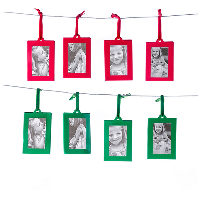 Christmas Photo Ornament Frames - Red & Green Mini Picture Frames - Set of 8 - Small Holiday Frames for Gifts or Hanging on Christmas Trees