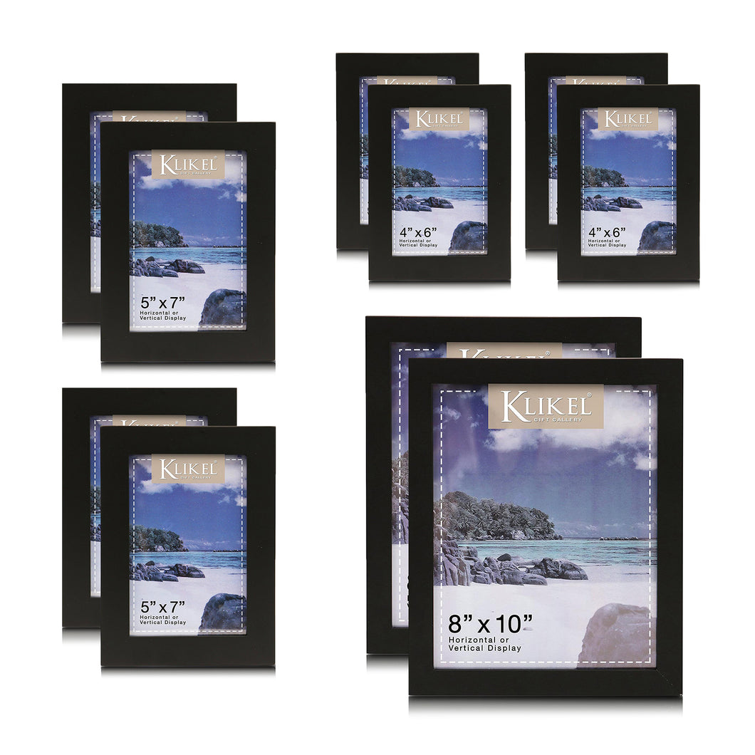10 Piece Wood Photo Frame Sets for Collage – Black Gallery Wall Frame Set Includes 4 of 4x6, 4 of 5x7 and 2 of 8x10 Picture Frames