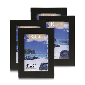 4 x 6 Black Picture Frame Set - Composite Wood with Real Glass Photo Protector - Wall Hanging and Table Standing Display - 4 Frames