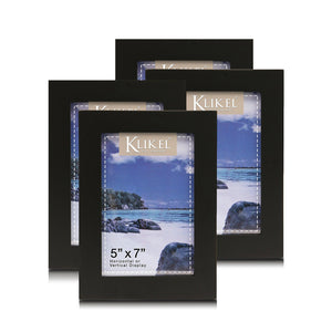 5x7 Black Picture Frame Set - Composite Wood with Real Glass Photo Protector - Wall Hanging and Table Standing Display - 4 Frames