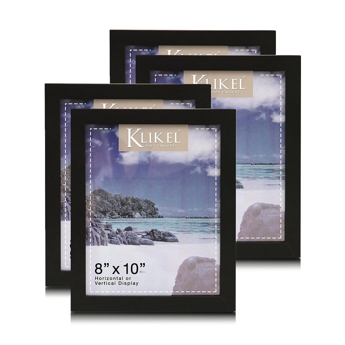 8x10 Black Document Picture Frame Set - Composite Wood with Real Glass Photo Protector - Wall Hanging and Table Standing Display -Pack of 4 Frames