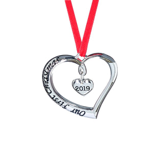 2019 OUR FIRST CHRISTMAS ORNAMENT - CHRISTMAS HEART ORNAMENT - WITH RED RIBBON - ENGAGED MARRIED