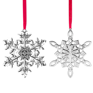 Metal Snowflake Ornament - Winter Christmas Tree Hanging Decorations - Set Of 2