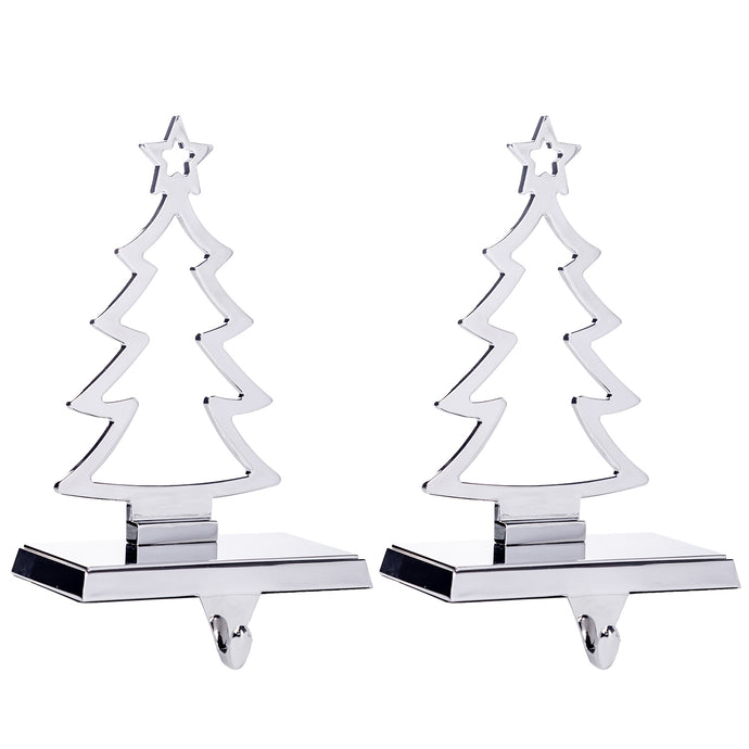 Christmas Tree Stocking Hanger for Mantel - Set of 2 - Silver Metal Stocking Holder with Hook
