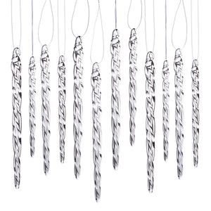 "Glass Icicle Ornaments - Winter Decorations for Christmas Tree - Total 36 hanging ornaments - 18 4"" and 18 6"""