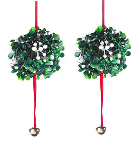 HANGING MISTLETOE DECORATION WITH METAL BELL ORNAMENT SET OF 2