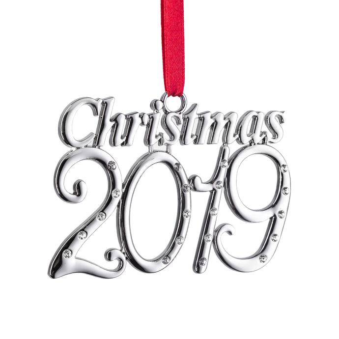 Klikel 2019 Christmas Year Ornament - Holiday Tree Decoration with Red Tie Ribbon - 1st Annual Christmas Edition