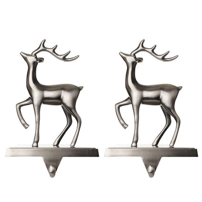 Christmas Reindeer Stocking Hanger for Mantel - Set of 2 - Silver Metal Deer Stocking Holder with Hook - Deer Facing Left